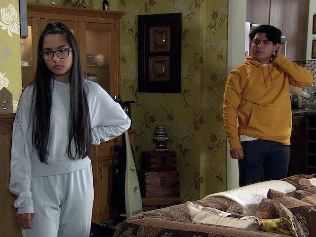 Asha and Aadi on Coronation Street on September 2, 2020