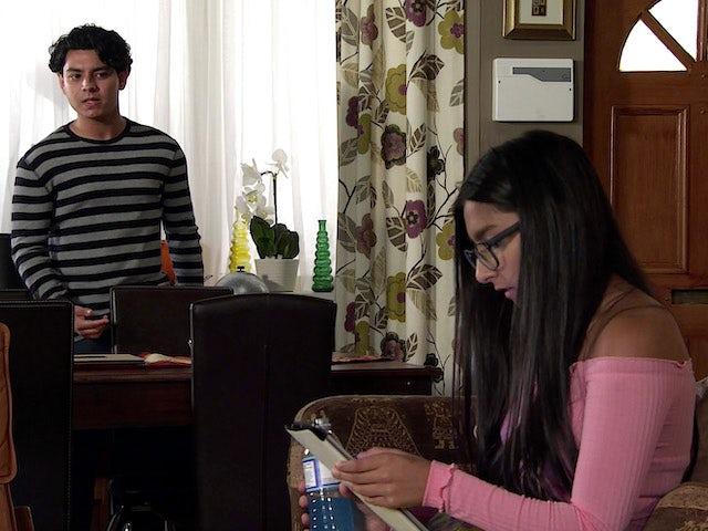 Aadi and Asha on Coronation Street's first episode on September 11, 2020