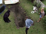 The group peer down the sinkhole on Coronation Street's first episode on September 11, 2020