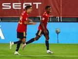 Ansu Fati celebrates scoring for Spain on September 6, 2020