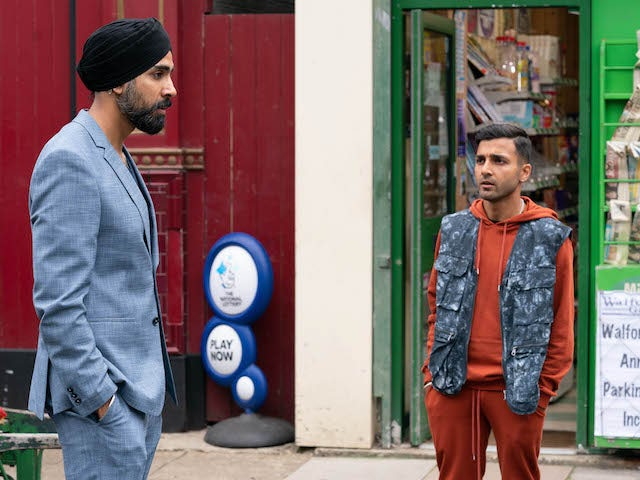 Kheerat and Vinny on EastEnders on September 8, 2020