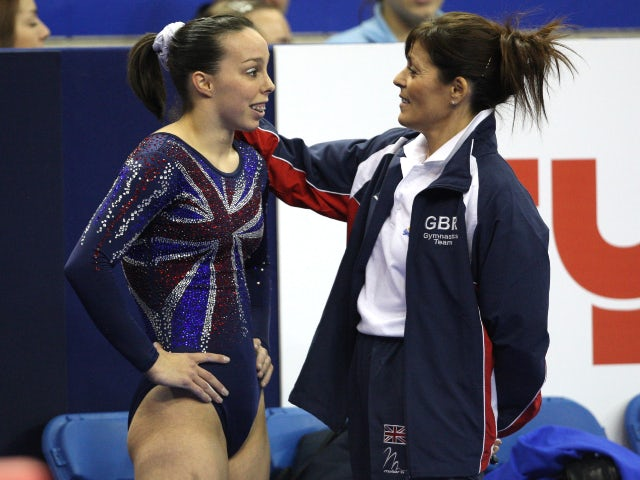 Beth Tweddle pictured with coach Amanda Reddin at the 2009 World Artistic Gymnastics Championships
