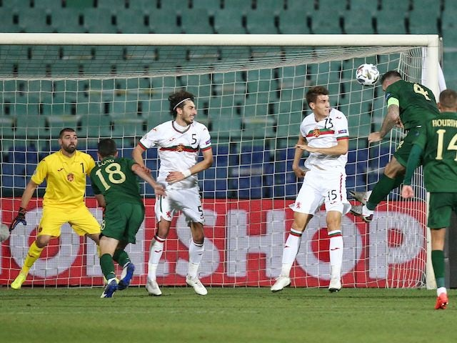 Republic of Ireland's Shane Duffy scores against Bulgaria in the UEFA Nations League on September 3, 2020