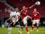 Belgium's Toby Alderweireld in action with Denmark's Martin Braithwaite in the UEFA Nations League on September 5, 2020