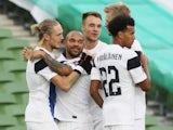 Finland players celebrate Fredrik Jenson's goal against Republic of Ireland on September 6, 2020