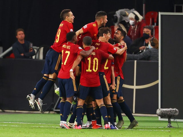 Spain's Jose Gaya celebrates scoring against Germany in the UEFA Nations League on September 3, 2020