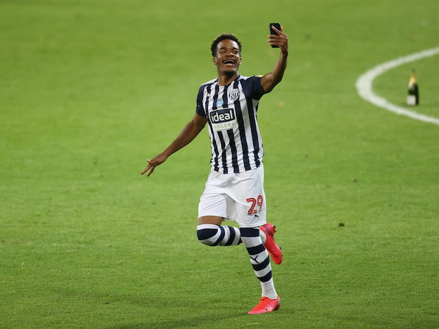 Grady Diangana celebrates winning promotion with West Bromwich Albion in July 2020