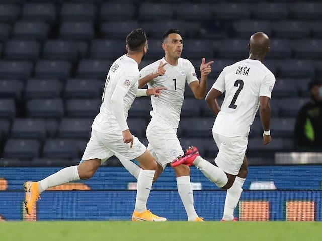 Israel's Eran Zahavi celebrates scoring against Scotland on Septmeber 4, 2020