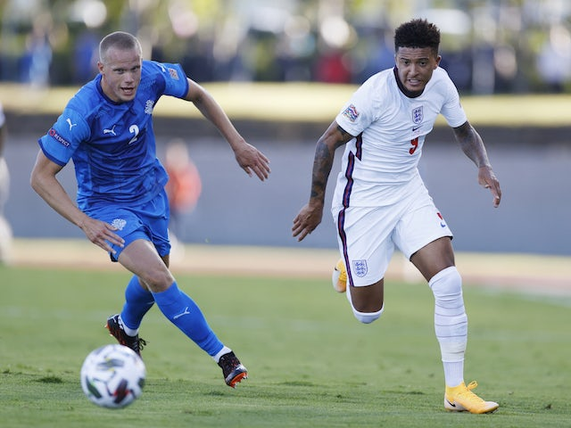 England's Jadon Sancho in action against Iceland in the UEFA Nations League on September 5, 2020