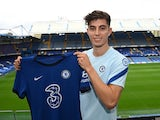 New Chelsea signing Kai Havertz poses with the team's kit on September 4, 2020