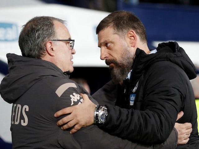 Leeds manager Marcelo Bielsa meets West Bromwich Albion counterpart Slaven Bilic