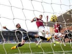 Chris Wood scores against Leicester for Burnley in January 2020