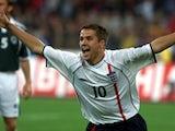England striker Michael Owen celebrates after scoring against Germany on September 1, 2001