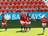 Manchester United's Leah Galton celebrates scoring against Chelsea on September 6, 2020