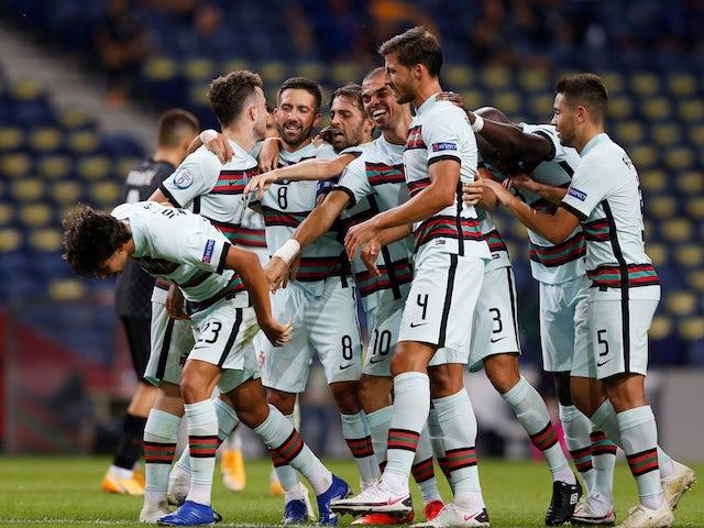Portugal's Joao Felix celebrates scoring against Croatia alongside his teammates in the UEFA Nations League on September 5, 2020