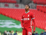 Liverpool's Rhian Brewster reacts after missing a penalty in the Community Shield shootout against Arsenal in August 2020
