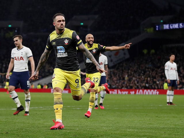 Danny Ings celebrates scoring for Southampton against Tottenham Hotspur in the FA Cup in February 2020