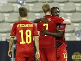 Belgium's Jeremy Doku celebrates scoring against Iceland in the UEFA Nations League on September 8, 2020