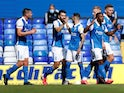 Birmingham City players celebrate Jeremie Bela's goal against Brentford on September 12, 2020