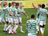 Celtic players celebrate Shane Duffy's goal against Ross County on September 12, 2020