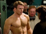 A shirtless Chris Evans