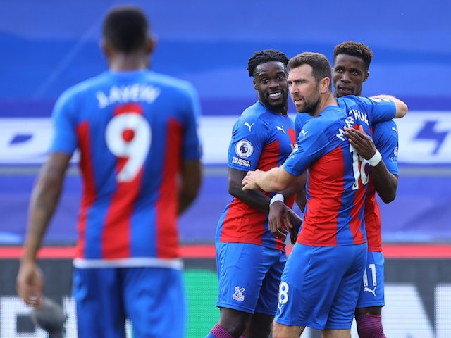 Crystal Palace celebrate Wilfried Zaha's goal against Southampton on September 12, 2020