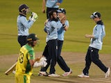 England players celebrate beating Australia in an ODI on September 13, 2020