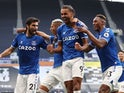 Everton's Dominic Calvert-Lewin celebrates with teammates after scoring against Tottenham Hotspur on September 13, 2020