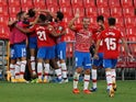 Granada players celebrate scoring against Athletic Bilbao on September 12, 2020