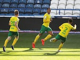 Norwich City's Adam Idah celebrates scoring against Huddersfield Town on September 12, 2020