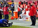 Alex Okafor kneels in protest during the national anthem ahead of Kansas City Chiefs vs. Houston Texans on September 11, 2020