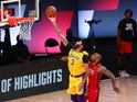 LA Lakers' Anthony Davis shoots against Houston Rockets on September 11, 2020