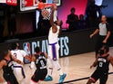 LA Lakers' LeBron James scores against Houston Rockets on September 13, 2020