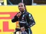 Lewis Hamilton celebrates winning the Tuscan Grand Prix on September 13, 2020