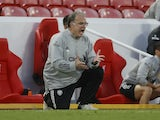Leeds United manager Marcelo Bielsa watches on as his side face Liverpool on September 12, 2020