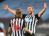 Newcastle United's Jeff Hendrick celebrates scoring with Andy Carroll against West Ham United on September 12, 2020
