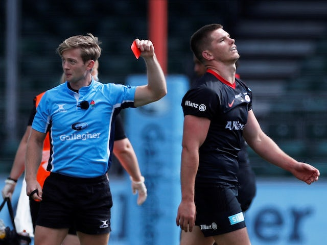 Owen Farrell undertaking additional tackling practice after ban