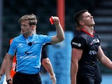 Owen Farrell is issued a red card during Saracens' meeting with Wasps on September 5, 2020