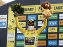 Primoz Roglic celebrates with the yellow jersey on September 11, 2020