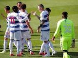 Queens Park Rangers players celebrate scoring against Nottingham Forest on September 12, 2020