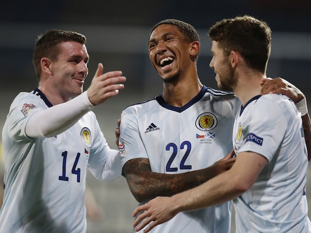 Scotland's Ryan Christie celebrates with teammates after scoring against Czech Republic on September 7, 2020
