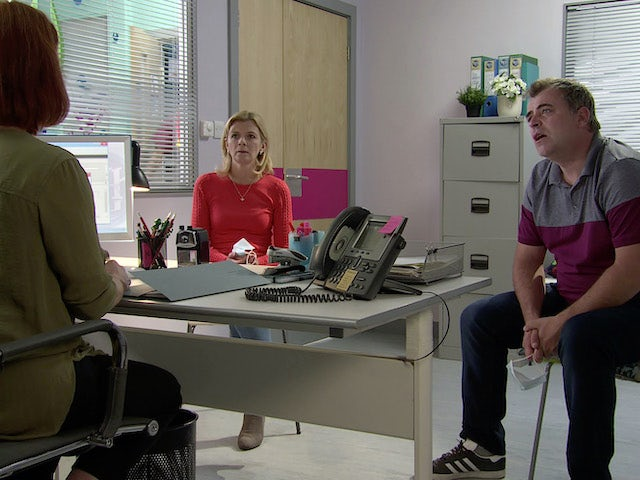 Leanne, Steve and the doctor on the second episode of Coronation Street on September 14, 2020