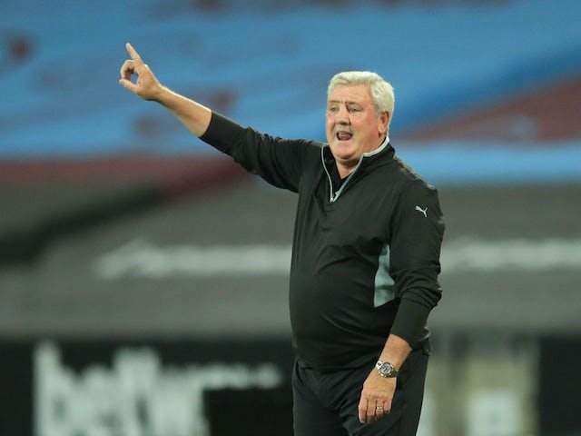 Newcastle United manager Steve Bruce pictured during his side's match at West Ham United on September 12, 2020