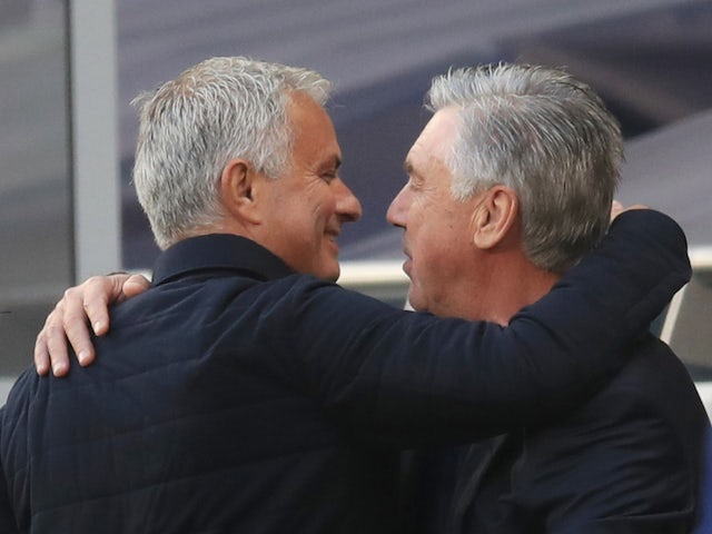 Jose Mourinho and Carlo Ancelotti greet each other before the Tottenham vs. Everton game in July 2020