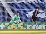 Jamie Vardy scores a penalty for Leicester City against West Bromwich Albion on September 13, 2020