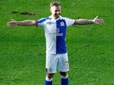 Adam Armstrong celebrates scoring for Blackburn Rovers on September 19, 2020