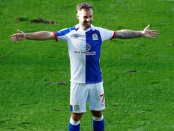 Adam Armstrong celebrates scoring for Blackburn Rovers on September 19, 2020