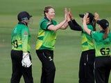 Western Storm's Anya Shrubsole celebrates the wicket of Tammy Beaumont on September 1, 2019