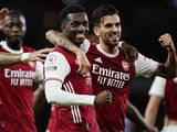 Arsenal forward Eddie Nketiah celebrates scoring against West Ham United on September 19, 2020
