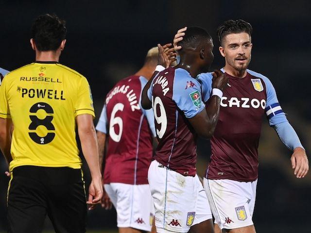 Aston Villa's Jack Grealish celebrates scoring against Burton Albion in the EFL Cup on September 15, 2020